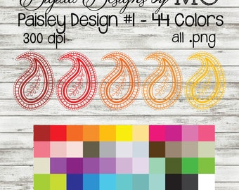 Paisley Clipart Graphics - Paisley Clip art - Digital Clip Art - Rainbow Graphics - FREE Small Commercial Use - Digital Download - 44 COLORS