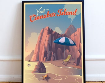 Pokemon Cinnabar Island | Travel Poster | Unframed