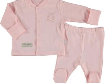 Organic Newborn footed pajamas , footed pants, baby girl pajamas,natural, pink pajamas (size 0-6 months)