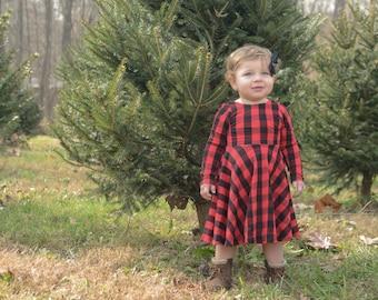 Red and Black Buffalo plaid Infant dress