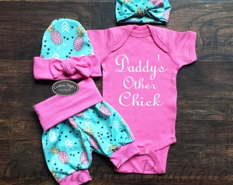 Baby Girl Coming Home Outfit, Summer Outfit, Teal Shorts With Pink Pineapples & Cuffs, Hat and Headband, Baby Girl Summer Shorts,Pink