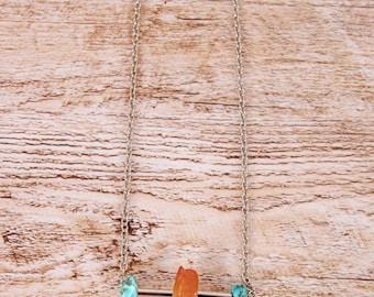 Inspiration meditation turquoise/orange/turquoise necklace