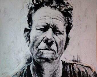 Tom Waits Portrait Oil & Acrilyc mixed Painting on fibreboard