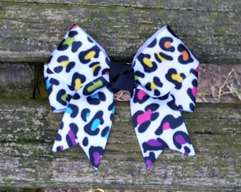 Colorful Leopard Print Hair Bow (3 inch)