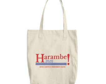 Harambe for President 2020 Tote Bag, Funny Political Tote Bag, Political Humor Tote, Meme Tote Bag, Parody Gift, Political Humor Gift