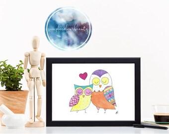PRINT - Two Owls Watercolour Print - Colour Variation #1