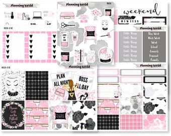 Planner Girl//VERTICAL Weekly Kit for Erin Condren, Happy Planner//Neutral Sticker Kit//7 Sheets of Stickers//B051