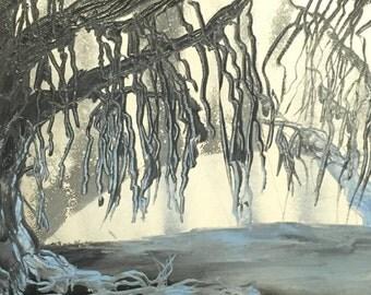 Spray Paint Art, Spray Painting, Landscape Painting, Tree Painting, Spray Paint Tree, Swamp Art, Tree Art, Willow Tree