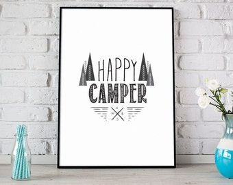 Happy Camper Print, Inspirational Print, Digital Print, Instant Download, Modern Home Decor, Nursery Print, Mountains Home Print- (D074)