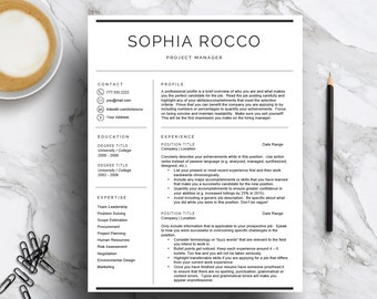 Minimal Resume Template for Word & Pages (1, 2, 3 page resume, cover letter, icon set) | Resume Design | Modern CV | Instant Download