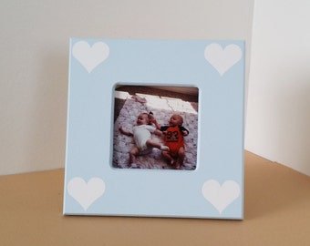 blue picture frame, heart picture frame, small picture frame, custom picture frame 4 x 6 picture frame, light blue picture frame, wood frame