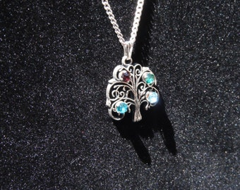 Sterling Silver Necklace with Multi Stone Tree of Life Charm 16.5""