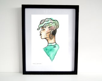 Female Green And Pink Profile  Art Print Ink and Watercolour Digital  Print