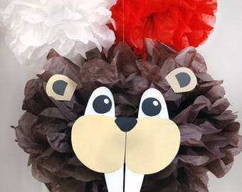 Beaver Canada Day Canada 150 Decoration Tissue Paper Pom Pom KIT