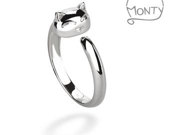 Happy Cat - Sterling Silver Ring (Rhodium Plated)