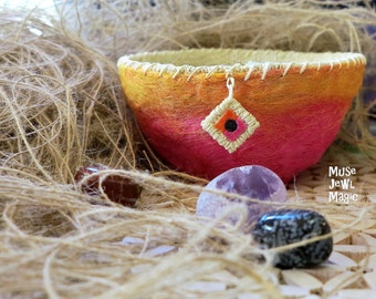 Unique decorative bowl with jewel  pink and orange - sacred space