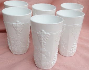 Milk Glass Tumblers Set of 6 - Colony Harvest Grape by Indiana Glass Company