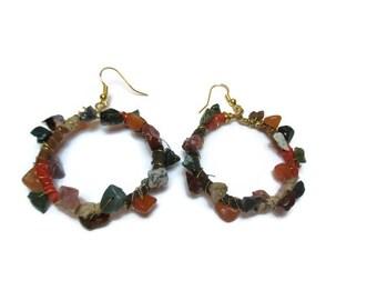 Linen and natural agate earrings / Earthy colors earrings / Boho earrings / Gypsy earrings / Country style earrings / Dangle earrings