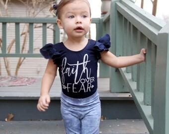 Faith over Fear girls leotard, Christian shirts for girls, Boutique clothing, Toddler gymnastics leotard, dance leotard, navy ballet leotard