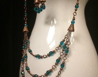 Ocean and Copper Tiered Necklace and Earring Seat