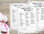 What's in your Purse? Bridal Shower Game - INSTANT DOWNLOAD - Printable Wedding Baby Shower Party Games, by Sassaby Weddings