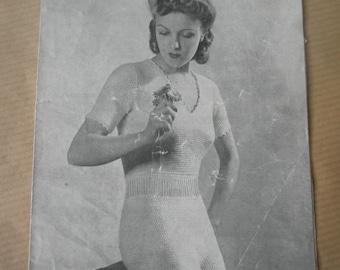 1940's vest and knickers set knitting pattern, Weldons leaflet no 513, vintage underwear pattern