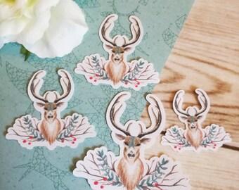 Set of 4 Christmas Deer Stickers
