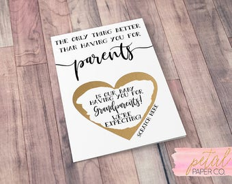 Scratch Off Grandparents to be Card -Pregnancy Announcement Reveal We're Expecting, you're going to be Grandparents Card & Metallic Envelope
