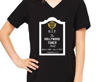 Disney Shirts Ladies Relaxed V Neck Tee RIP Hollywood Tower of Terror shirt Disneyland Shirt  Disney Shirt