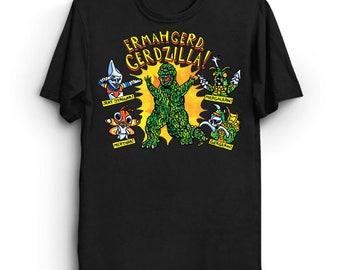Gerdzilla T-Shirt - Funny Cool Awesome Ermahgerd Internet Meme Geek Nerd Tee Shirt Kaiju Godzilla OMG Derp