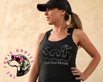 DACH NESS MONSTER Vintage Black Tank Top, Dachshund, Doxies, Weiner Dog, Doxie, Dachshund Shirt, Sausage Dog, Wiener Dog, Loch Ness Monster