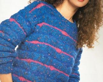 Ladies Sweater Knitting Pattern, Wendy Knitting Pattern, Ladies Striped Sweater, Ladies Textured Jumper, Ladies Jumper, Wendy No. 2919