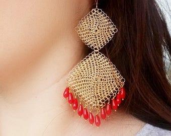Crochet earrings, gold, long, statement, boho, coral earrings, red, beaded earrings, chandelier earrings, gemstone, bohemian, wire crochet