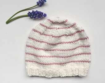 Baby Hat with Stripes, Cotton Baby Beanie, White and Pink Baby Hat, Knitted Baby Hat, Photo Prop, Newborn Beanie