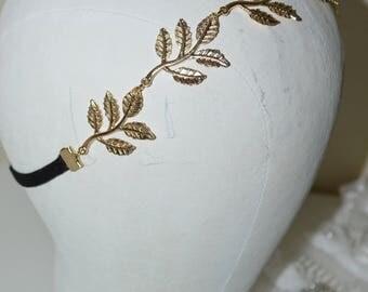 Gold Leaf Jewelry Headband / Chain Gold Leaf Headband / Black Satin Headband / Bridal Gold Leaf Hair Jewelry / Elastic Headband Black / Hair