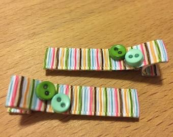 Hair clips - blue, green, stripes - baby girl, child