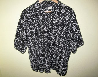Vintage 80's Black and White Diamond Printed Shirt