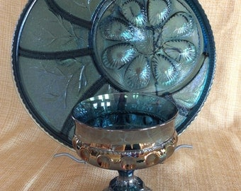 Vintage Indiana glass King Crown Thumbprint iridescent pedestal compote dish Bicentennial Colonial blue