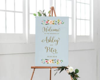 Custom Welcome Sign, Printable Wedding Sign, Slate Blue Wedding, Rustic wedding, Floral Outdoor Sign, Floral Watercolor Wedding, Calligraphy