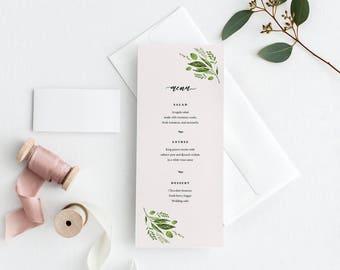 Printable wedding menu, Custom Wedding menu, Minimal wedding menu, Blush wedding menu, Greenery wedding menu, Botanical menu, Elegant menu