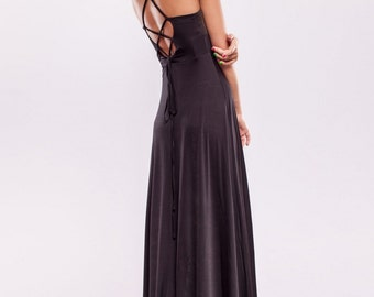 Evening Long Dress, Black Dress, Party Strappy Dress, Maxi Dress