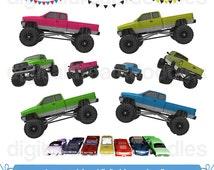 Monster Truck Clipart, Big Truck Clip Art, Truck Rally Image, Stunt Truck, Trucking Picture, Pennant Flag, Garland Banner, Digital Download