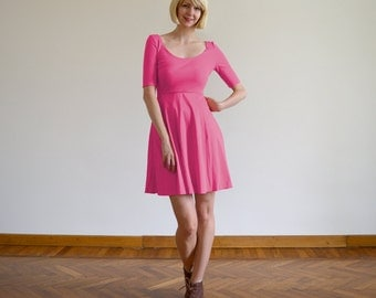 SALE Bella Hot Pink Swishy Casual Skater Dress. Three Quarter Sleeve Scoop Neck Midi Dress, Perfect for Wear Day or Night