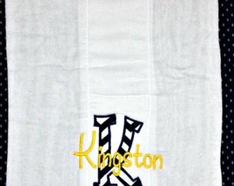 Custom appliqued burp cloth