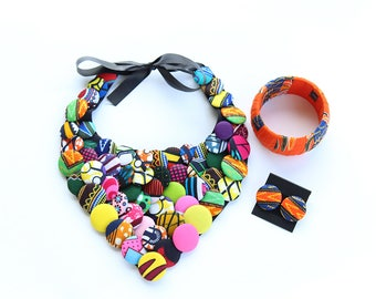 V Shape African Jewelry Set Ankara Jewelry Set African Fabric Jewelry Bracelet Earrings Plus Size African Chunky Necklace Ethnic Jewelry