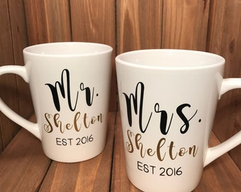 Personalized Mr & Mrs Gift Mugs With Wedding Date 14oz Set of 2