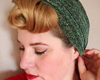 "Vintage style turban - The ""Lana"" - 1940s style lurex sparkle glitter turbans, glamorous pin up style - FOREST GREEN"