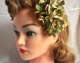 Green hair flower clip - tonal sage green hydrangea hair flower vintage 40s 50s pin up style - soring flower