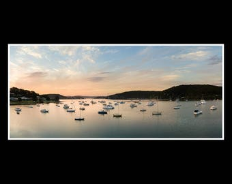Panoramic print nature photography fine art photo wall art Sail boats at Harbour 18x8