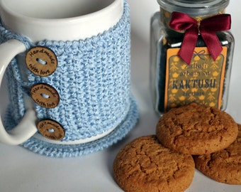 Crochet mug cozy and coaster set - cup holder - coffee mug cover - tea cozy - Christmas gift